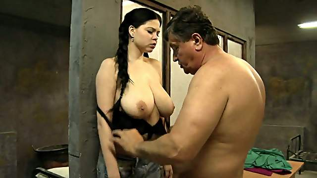 Young whore with big tits for old prisoner
