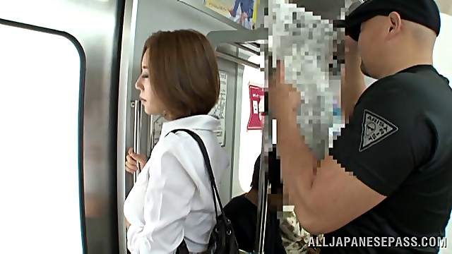 Horny asian lady Ruri Saijoh gives cock a hardcore blowjob in public