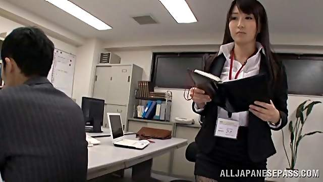 Seductive Asian office girl in a sexy pantyhose getting screwed until orgasm