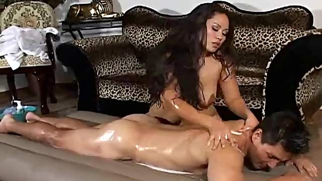 Wet and soapy handjob in the living room from a cute Asian