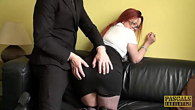 Nerdy redhead maid turns around and gets banged from the behind