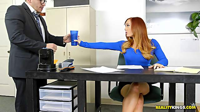 Day at the office spiced up with Dani's great desire to ride the dick