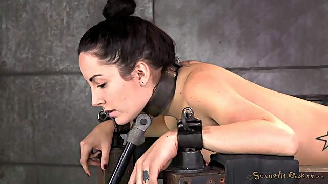Long hair slave getting throbbed hardcore doggystyle in BDSM