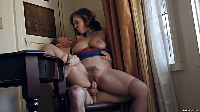 Lena Paul's hairy vagina plowed well by an insatiable love