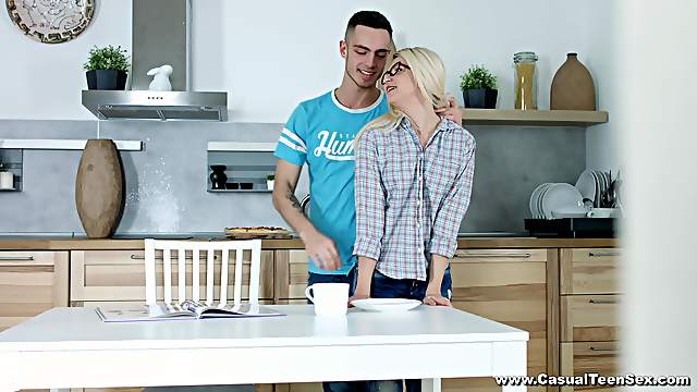 Sweet blonde Cornelia enjoys pussy licking by her boyfriend in the kitchen