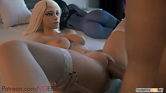 Horny blonde babe from Overwatch game called Mercy taking big dick missionary style