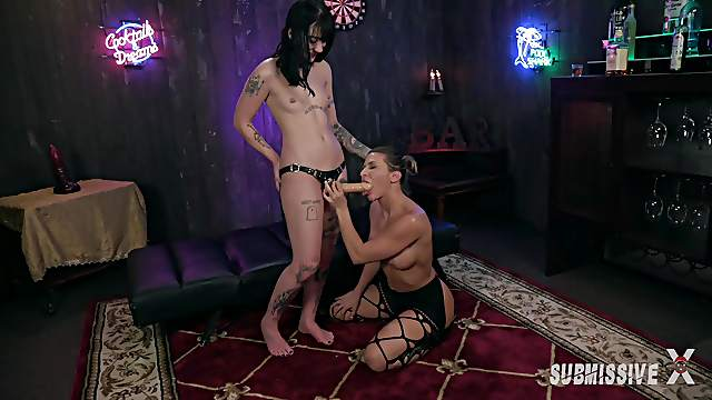 Hot lesbian Charlotte Sartre gets her pussy fucked by Ariel X's strapon