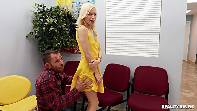 Clothed sex is what horny blonde Kiara Cole prefers with this dude