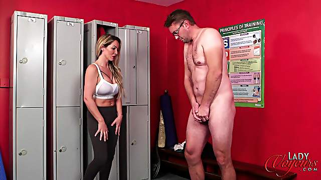 Lucy Kemp watches a man masturbate to her in the locker room