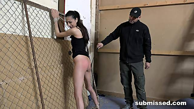 Skinny girl Ashley Ocean tied up and poked by a horny pervert
