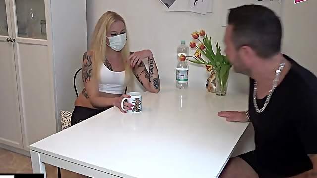 German teen slut fuck with corona mask