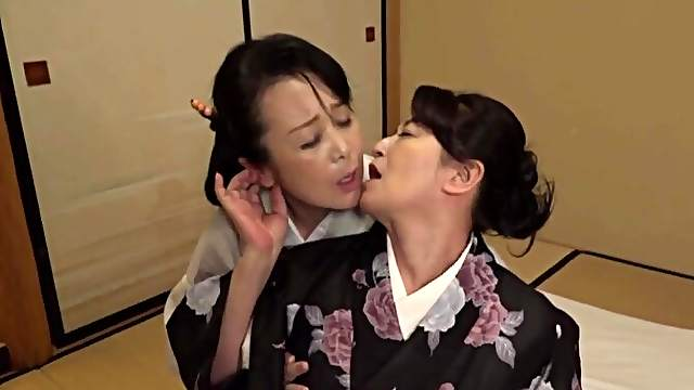 Two Japanese matures drop their clothes to have passionate lesbo sex