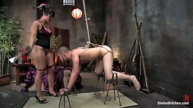 Asian DragonLily Ties Guy Up and Strapon Fucks Him in Femdom Video