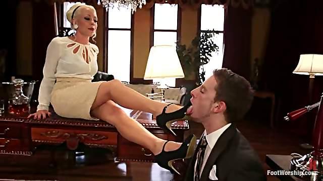 Three Dominant Sluts Having Fun with Guy in Foot Fetish femdom