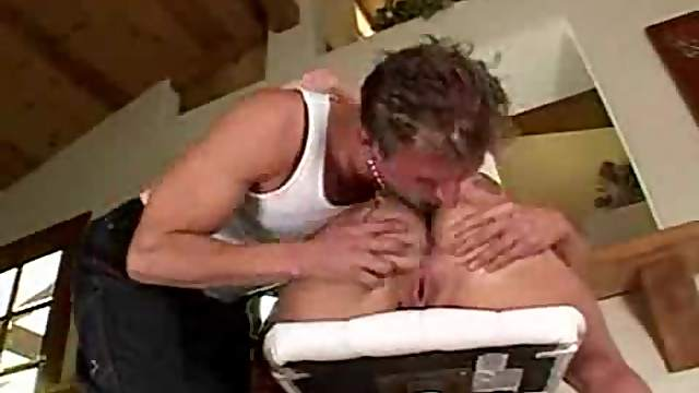 Her ass is out and he licks it lustily