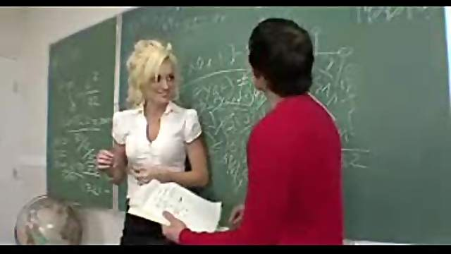 Blonde teacher laid by a student