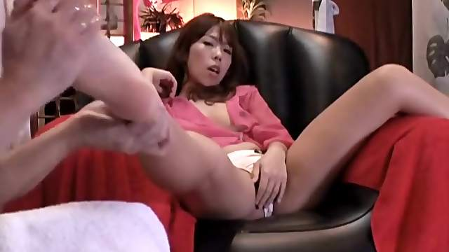 Oil foot massage for Japanese girl in panties