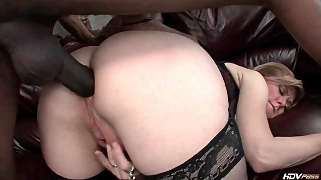 Nina Hartley interracial anal sex from behind