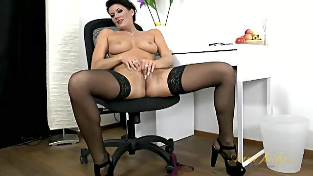 Lingerie is so hot on this big tits solo milf