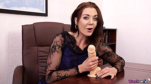 Sexy dick stroking lessons from a beauty with a dildo