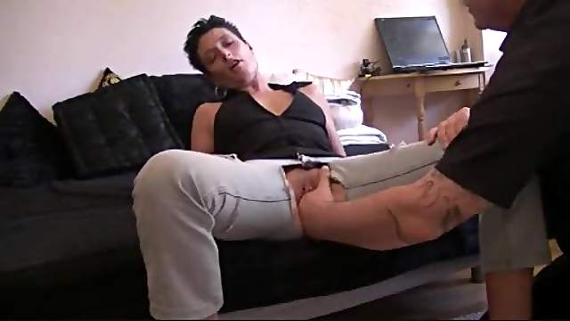 Pierced cunt fisted through cut open jeans
