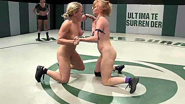 Three blondes bang on tatami after having a wrestling match