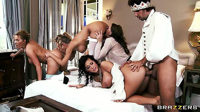Horny pornstar in stocking riding big cock hardcore in an orgy group sex