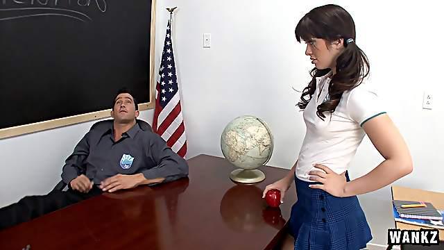 Sexy teen Ashlyn Rae fucks big cock teacher Billy Glide