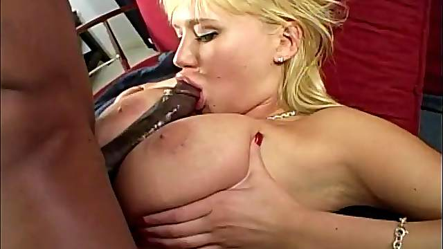 Gorgeous blonde takes on a monster black cock with her pussy