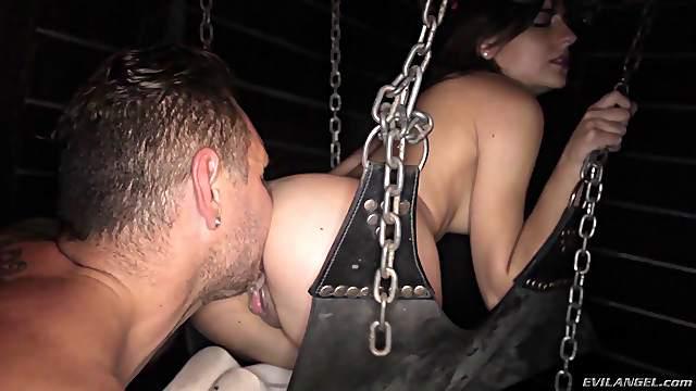 Hot ass bondage dame throbbed doggystyle while screaming