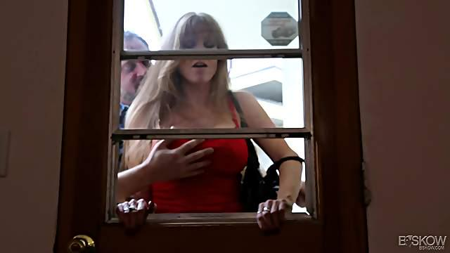 Long-haired Darla Crane bouncing on Alec Knight's trembling cock