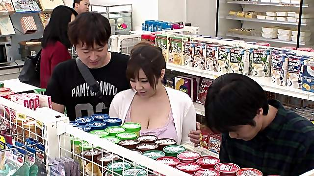Chubby babe Ran Niyama groped by a fellow in a supermarket