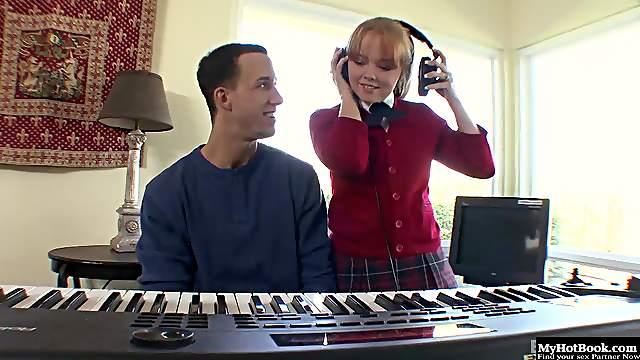 Cute strawberry blonde girl, Carolina West, is hot for her music teacher