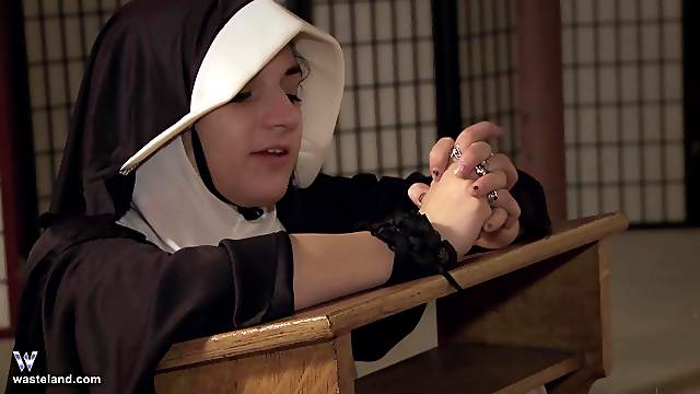 Sinful nun gets ass fucked hard while praying bent over