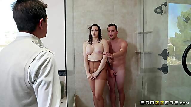 Shower blowjob and a doggy fuck with curvy slut Chanel Preston
