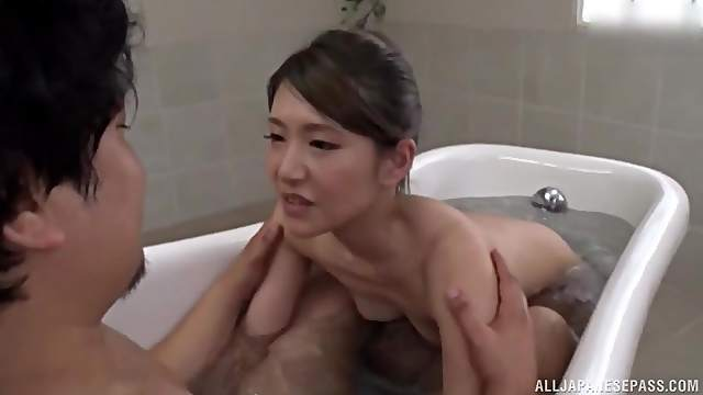 After pleasing in the bath Kazabana Kureha decides to fuck without mercy