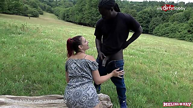 Melina May's first outdoors interracial BBC creampie