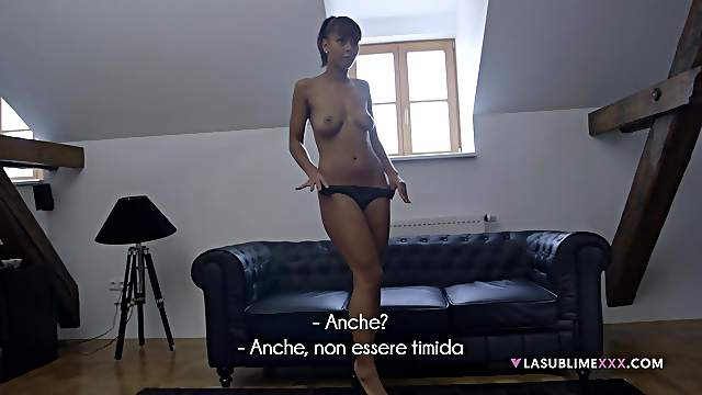 Shy model Isabella Chrystin teasing and sucking a large dick