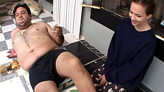 Dirty fucking on the floor between a fat guy and sexu Cristina Agave