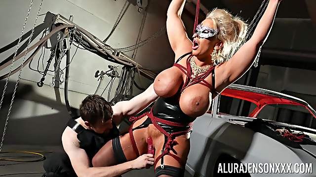 Busty mature pornstar Alura Jenson tied up and tortured by a man