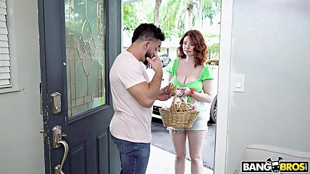 Pale redhead Annabel Redd with bubble butt riding a large dick