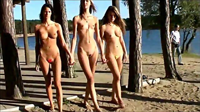Three beauties took off their bikinis on the beach