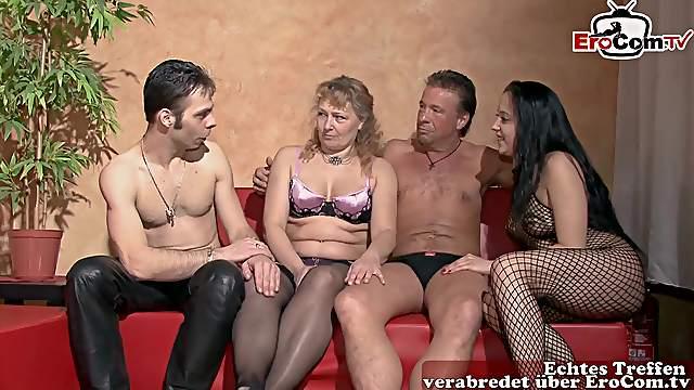 German amateur swinger couple party