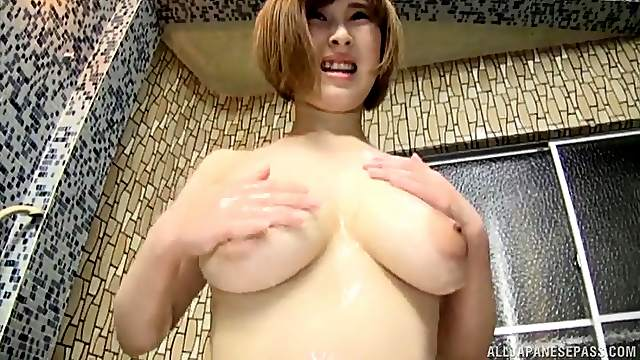 Natural tits Japanese girl spreads her legs to ride in cowgirl