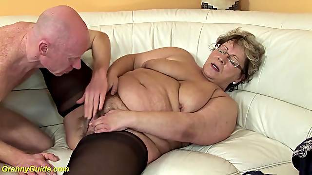 Ugly fat mom in hot nylon stockings gets deep fucked with her big cock friend