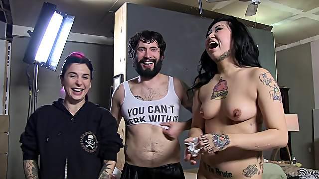 Pornstars Nicole and Joanna go behind the scenes with a beard guy