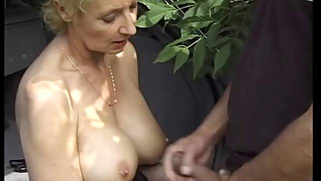 Horny mature German drives hubby to pull over and throb her rough outdoors