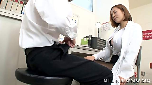 Ruri Saijo shows her big tits while jerking a dude off