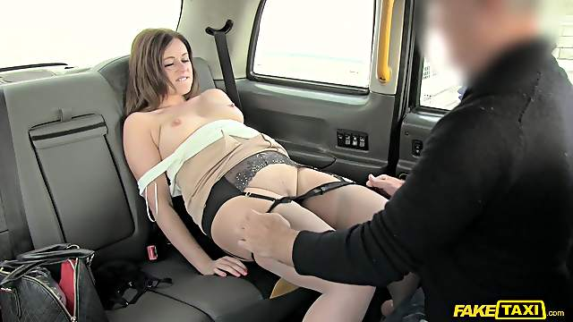 Fucking in the back of the taxi with cock hungry mature Anna Joy