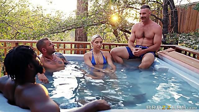 Wild outdoors MMF threesome with Latina pornstar Abella Danger